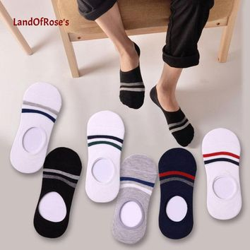 3 Pair Invisible Cotton Male Ankle Socks Low Cut Shoe Slippers Non-slip