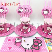61pcs/lot lot Hello Kitty birthday children like gifts party decorations tablecloth straws cups like multi people party supplies