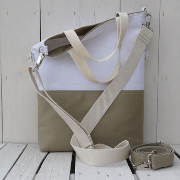 canvas totes - summer bag - beige and white - foldover bag - crossbody bag - two toned bag - messenger - weekender - travel