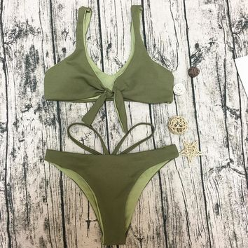 2018 Sexy Solid Color Bikini Triangle Swimsuit
