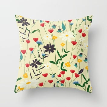 Swedish medow - pattern Throw Pillow by Krusidull Illustrations