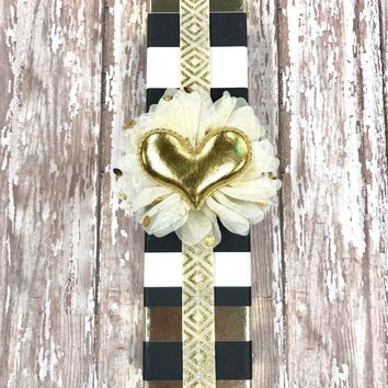 Gold Tribal Print Planner Band with Puffy Gold Heart on Cream & Gold Flower