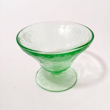 Green Depression Glass Dessert Cup, Hazel Atlas Florentine Pattern Green Glass Sherbet Cup