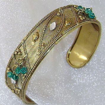 Gold Gilt over Brass Mesh with Green Crystal Dangles Cuff Vintage Bracelet