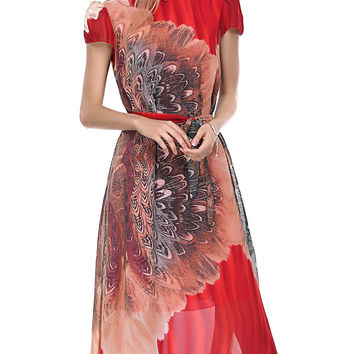 Bohemian Floral Pattern Cap Sleeve Chiffon Dress