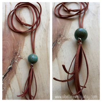 Beaded tassel necklace / long tassel necklace / bohemian jewelry / deerskin lace / boho tassel necklace / aqua beaded necklace