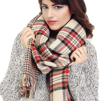 Reversible Plaid/Houndstooth Blanket Scarf - Cream