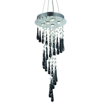 "Comet 36"" H Chandelier, Chrome Finish, Black Prism Drop Crystal, Royal Cut"