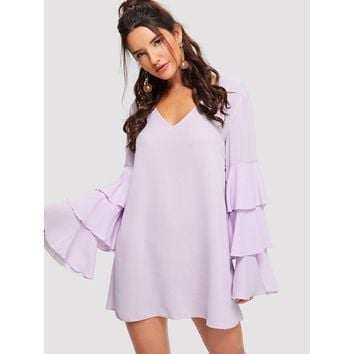 Purple Layered Petal Sleeve Vneck Dress