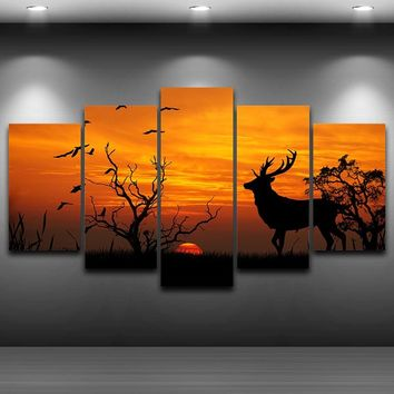 Modular Canvas Pictures Wall Art Printed Painting 5 Panel Animal Deer Trees Sunset Landscape Posters Home Decor Framed PENGDA