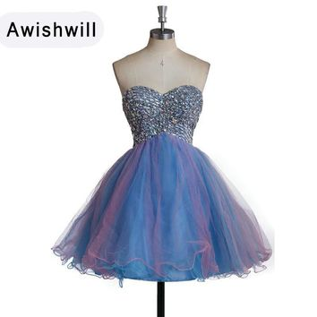 Real Photo Sweetheart Neckline Beaded Organza A-line Short Prom Dresses 2018 Customized Sexy Party Dress Vestidos de Festa