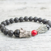 Black lava stone beaded double silver Dragon head stretchy bracelet, made to order yoga bracelet, mens bracelet, womens bracelet