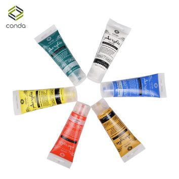 Acrylic Paint Set 75ml 6 tube CONDA Paint for Fabric Studio Set Dye for Clothing Paper Stretched Canvas Wood Pigment Glass Paint