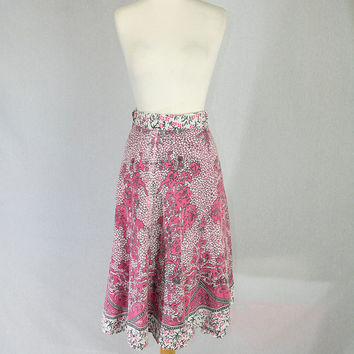 Vintage 1970's Wrap Skirt Pink Gypsy Batik So Pretty!