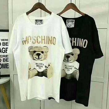 Moschino Women Bear Fashion Round Neck Tunic Shirt Top Blouse