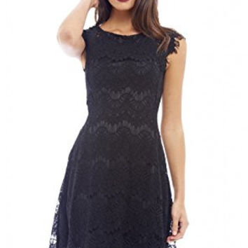 Black Capped Sleeve Crocheted Lace Midi Dress