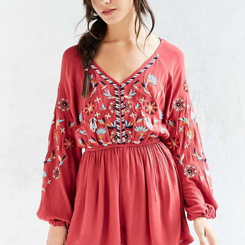 Ecote Embroidered Balloon-Sleeve Romper - Urban Outfitters