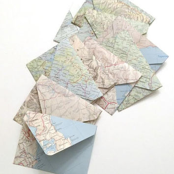10 Mini Map Page Envelopes With Notecards, Travel Theme Mini Cards With Envelopes, Recycled Vintage Atlas Envelopes