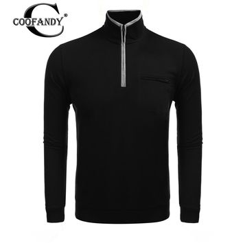 COOFANDY 2017 Newest Male Clothes in Men's Casual Shirts  Long Sleeve Stand Collar Polo Shirts Solid Slim Fit Leisure Tops