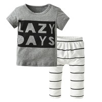 Fashion Baby Boy Clothing Set Infant Clothes Unisex Short-sleeved Letter T-shirt+Pants Toddler 2pcs Newborn Baby Girl Clothes