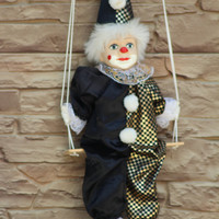 Clown Doll, Clown Figurine, Clown on a Swing, Circus Clown, String Puppet, Black and Gold Costume, Porcelain