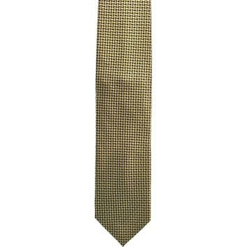 Peacock Checked Wide Silk Tie - Gold