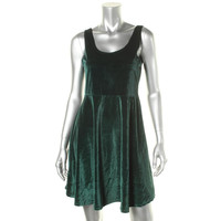 Pure Hype Womens Velvet U-Neck Party Dress