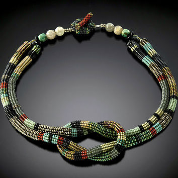 Square Knot Necklace Celadon  Silver  Carnelian  by Julie Powell: Beaded Necklace - Artful Home