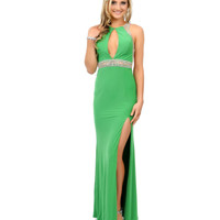 Green Hand Beaded Rhinestone Cutout Jersey Long Dress 2015 Prom Dresses