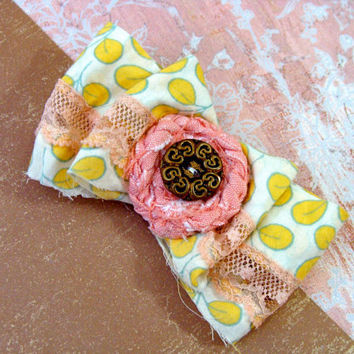 "Shabby Chic Hair Clip, Bow Hair Accessory, Pink Peach & Yellow Fascinator, Vintage Button - ""Ain't She Sweet"""