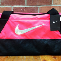New Women's Nike Duffle Bag Blinged with Swarovski Elements Crystal Rhinestones Pink Black Includes Original Tags - Backpack Bag Purse