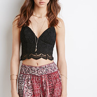 Crochet-Trimmed Abstract Print Shorts