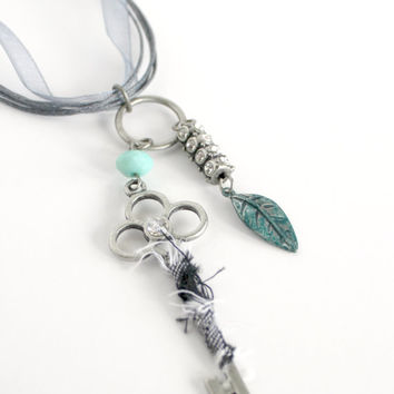Large Brushed Silver & Light Turquoise Fabric Wrapped and Beaded Key Pendant Necklace - Shabby Corded Ribbon Jewelry - Ready to Ship