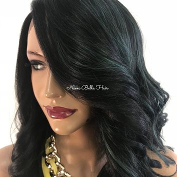 Green Black lace front hair wig - Gretchen 418 12