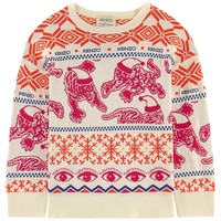 KENZO -  Kids Knit Sweater Multi Icons Fuchsia And Orange, Off White