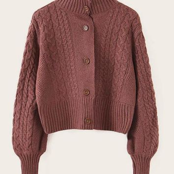 Cable Knit Single Breasted High Neck Cardigan