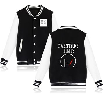 Hot Fashion 2017 Twenty One Pilots Baseball Jacket High Quality Capless Hoodies Men & Women Plus Size Sweatshirt Brand Clothing