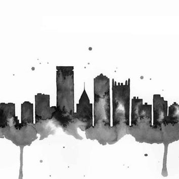 Pittsburgh Skyline - Print of original watercolor illustration by Lexi Rajkowski