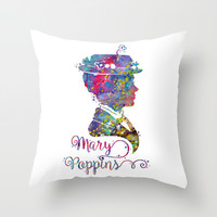 Mary Poppins Portrait Silhouette Throw Pillow by Bitter Moon