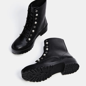 Lace-up ankle boots with faux pearls - SHOES - Bershka United Kingdom