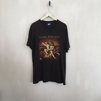 Van Halen shirt 90s vintage t shirt band t-shirts 1995 tour shirt vintage band tee rock tees rock n roll clothing t-shirt black tshirt XL