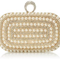 MG Collection Michaela Pearl Beaded Evening Bag