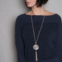 Vivace USA Dolman Sleeve Boatneck Knit Top With Medallion Necklace - Charcoal