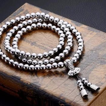108 Buddha Beads Necklace Chain Outdoor Stainless Steel Self Defense Hand Bracelet Chain Protection Multi Tools Accessories