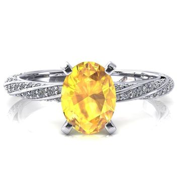 Elysia Oval Yellow Sapphire 4 Prong 3/4 Eternity Diamond Accent Ring