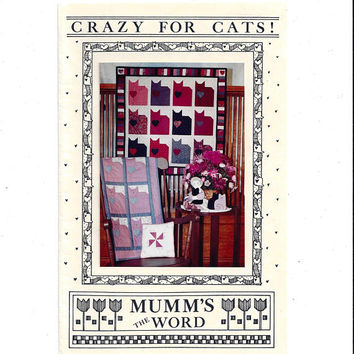 1987 Vintage Crazy for Cats! Quilt Pattern Wall Hanging, 34 x 33 In., UNCUT, Mumm's the Word, Vintage Pattern, Home Quilt Craft, Scrap Cats