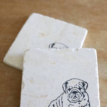 Bulldog Puppy Dog Coasters