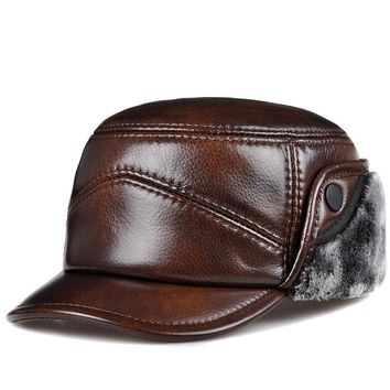 Trendy Winter Jacket RY0203 2018 New Men Earmuffs Genuine Leather Faux Fur Baseball Caps Thicken Warmer Winter Male Flat Hats Real Cowhide Gorras AT_92_12