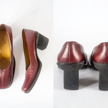 90s Oxblood Red Leather Shoes | Stacked Heel Chunky Shoes Soft Grunge Shoes Burgundy 90s Shoes Square Toe BCBG Shoes Goth Retro Boho Indie