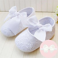 Spring Soft Sole Girl Baby Shoes Cotton First Walkers Fashion Butterfly-knot